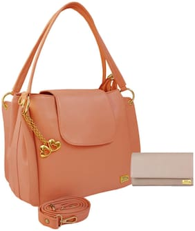 I Define You PU Leather Women and Girls Handbag & Wallet Combo ( Peach & Cream )