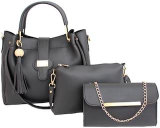 I DEFINE YOU Black PU Shoulder Bag - Sara