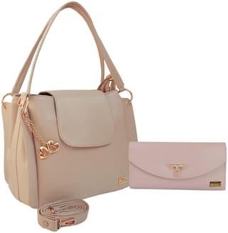 I DEFINE YOU Brown & White PU Handheld Bag