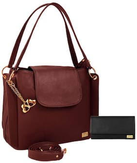 I Define You PU Leather Women and Girls Handbag & Wallet Combo ( Black & Brown )