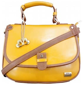 I DEFINE YOU Yellow PU Solid Sling Bag