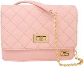 I DEFINE YOU Pink PU Solid Sling Bag