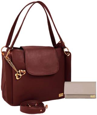 I Define You PU Leather Women and Girls Handbag & Wallet Combo ( Cream & Brown )
