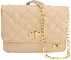 I DEFINE YOU Beige PU Solid Sling Bag