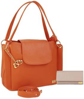 I DEFINE YOU Leather Women Handheld Bag - Orange