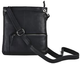 Threesixtydegree Black Leather Sling bag