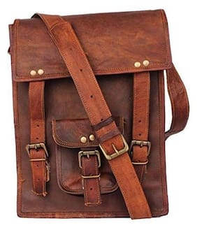 72473aa1626f iHandikart Hunter Leather IPad Satchel Messenger Bag Size L (10) H (13)
