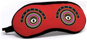 Indigifts Funky Sleeping Eye Mask Staring Round Eyes on Red Base Eye Mask 7.8X3.3 - Sleeping Mask for Women-Man-Girls-Boys Gift for Brother-Sister