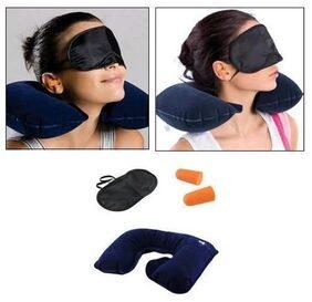 Indo 3 In 1 Travel Kit Set - Neck Pillow, Eye Mask, Ear Bud