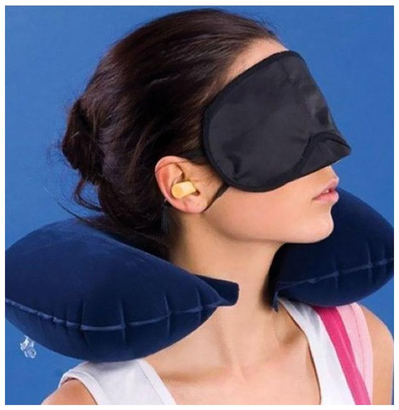 Indo 3 In 1 Air Travel Kit Combo   Pillow , Ear Buds   Eye Mask Assorted,Pillow   Flannelette , Ear Buds   Cotton Foam , Eye Mask   Polyester  by Indo