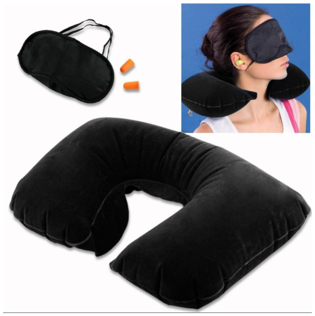 Inovera 3 in 1 Tourist Treasure Travel Kit Eye Mask Shade Inflatable Pillow Ear Plug by Gifts Shoppe