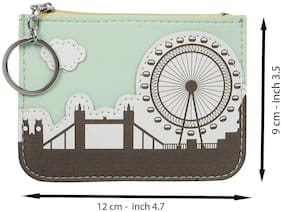 Instabuyz Multipurpose Key Ring Zipper Wallet Coin Pouch with Credit Card Pocket