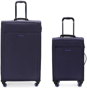 IT Luggage Accentuate Cabin & Large Size Soft Luggage Bag ( Blue , 8 Wheels )