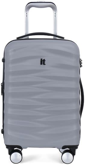IT Luggage Mesmeric Cabin Size Hard Luggage Bag ( Silver , 8 Wheels )