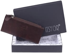 ITSYOR Women Brown Leather Wallet