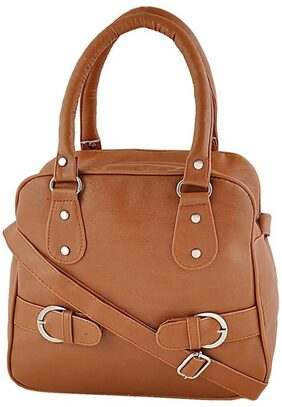 JARS Collections Women Faux Leather Handheld Bag - Brown