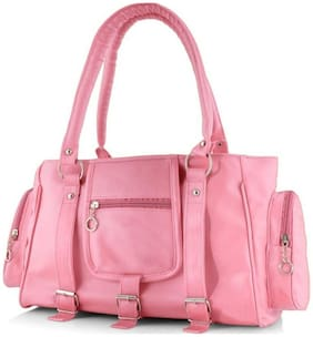 JARS Collections Pink Faux Leather Handheld Bag