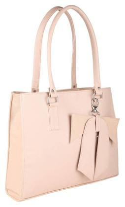 JARS Collections Beige Faux Leather Handheld Bag