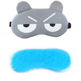 Jenna  2Line_Grey_Gel Eye Mask for Insomnia, Meditation, Puffy Eyes and Dark Circles Sleeping Blindfold