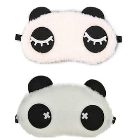 Jenna  Eyelashes Cross Panda Sleeping Blindfold Eye Mask(Pack Of 2)