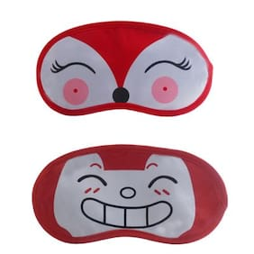 Jenna   RedDeer-RedHappyEye Mask for Insomnia, Meditation, Puffy Eyes and Dark Circles Sleeping Blindfold (Pack of 2)