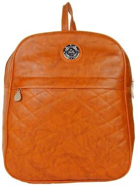 JG Shoppe Men & Women PU Tan Backpack