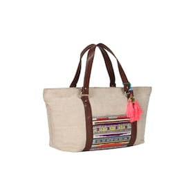Desi Drama Queen Women Solid Faux Leather - Tote Bag Beige