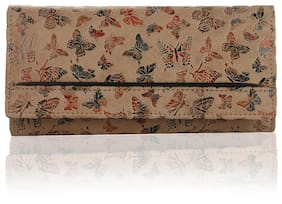 K London Women Faux Leather & Synthetic Wallet - Beige