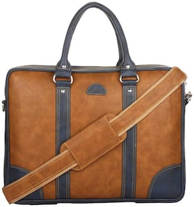 K London Tan & Blue Laptop messenger bag & Messenger bag