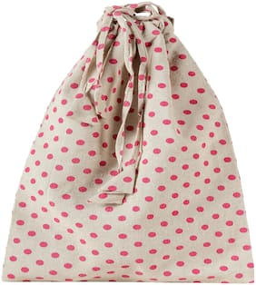 KANYOGA Premium Quality 100% Cotton Printed Multipurpose Travel Shoe Bag (38 L x 23 W cm)-Beige & Magenta Polka Dots
