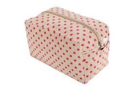 KANYOGA Premium Quality 100% Cotton Printed Multipurpose Utility/Cosmetic Bag (24 L x 17 W x 13 H cm)-Beige & Magenta Polka Dots