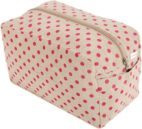 KANYOGA Premium Quality 100% Cotton Printed Multipurpose Utility/Cosmetic Bag (24 L x 17 W x 13 H cm)-Beige & Magenta Polka Dots