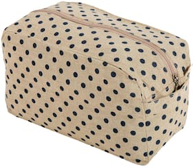 KANYOGA Premium Quality 100% Cotton Printed Multipurpose Utility/Cosmetic Bag (24 L x 17 W x 13 H cm)-Beige & Blue Polka Dots