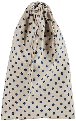 KANYOGA Premium Quality 100% Cotton Printed Multipurpose Travel Shoe Bag (38 L x 23 W cm)-Beige & Blue Polka Dots