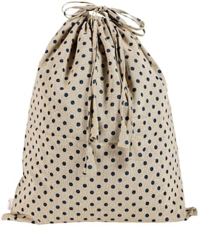 KANYOGA Premium Quality 100% Cotton Printed Multipurpose Travel Luandry Bag (38 L x 38 W cm)-Beige & Blue Polka Dots