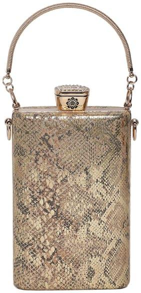 Kazo Women Textured Faux Leather - Clutch Gold