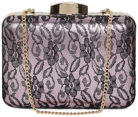 Kazo Women Textured Faux Leather - Clutch Pink