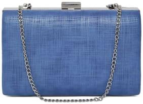 Kazo Women Textured Synthetic - Clutch Blue