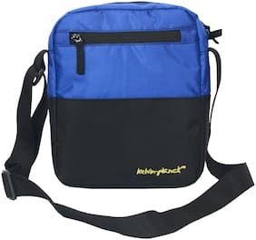 Kelvin Planck Black & Blue Polyester Messenger bag & Sling bag