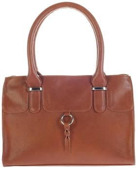 Khadim's Brown Faux Leather Handheld Bag
