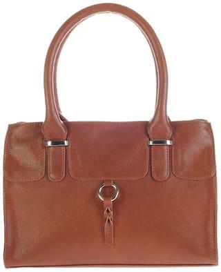 Khadim's Brown Faux Leather Handheld Bag