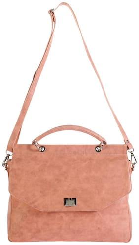Khadim's Pink Faux Leather Handheld Bag