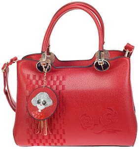 Khadim's Red Faux Leather Handheld Bag