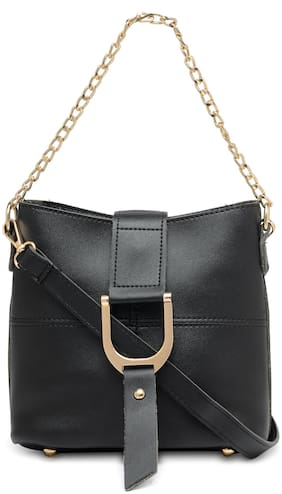 Kielz Women Solid Synthetic - Sling Bag Black