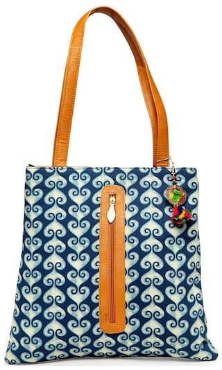 Kielz Women Floral Fabric - Tote Bag Blue