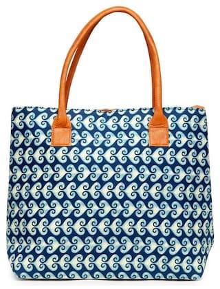 Kielz-Blue-Floral-Print-Zipper-Women-Handbags