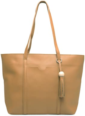 Kielz Synthetic Women Handheld Bag - Beige