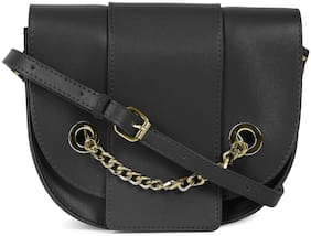 Kielz Women Solid Synthetic - Crossbody Bag Black