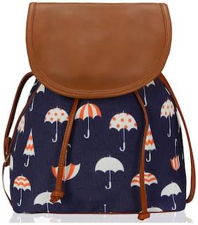 Kleio Blue Canvas Solid Sling Bag