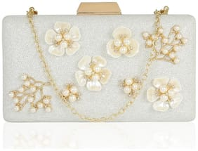 Kleio Designer Floral Emblished Party / Wedding Box Clutch with Sling For Women/ Girls